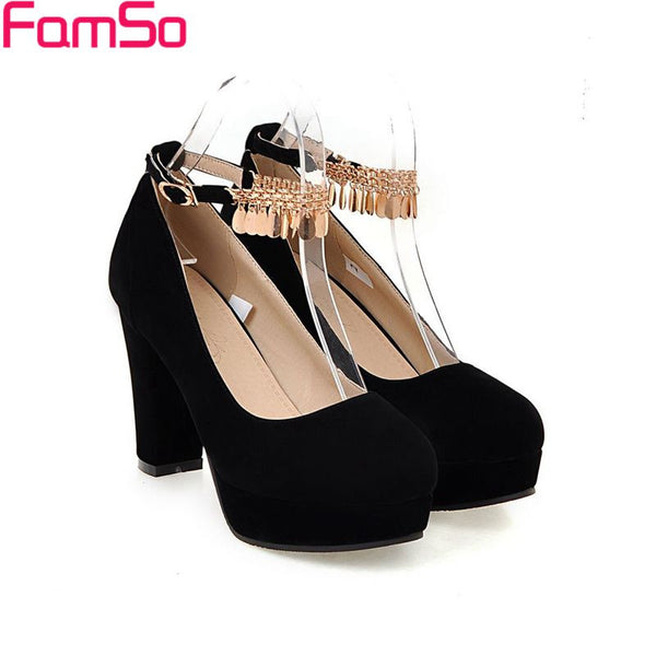 Free shipping 2017 new Fashion Women's Pumps Shoes Black Glitter Buckle High Heels Single Shoes Autumn Platforms Pumps  ZWP2740