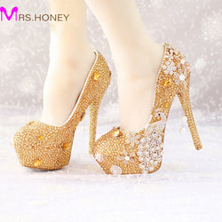 Glitter Gold Rhinestone Wedding Shoes 5 Inches High Heel Party Pumps Bling Diamond Evening Prom Heels Celebrity Function Shoes