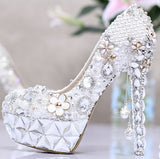 High quality  new sexy fashion hot women shoes diamond high heels waterproof stiletto cross tied bride wedding pumps shoes