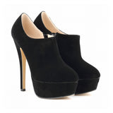 LOSLANDIFEN Flock Ultra High Heels Platform Pumps Black Sexy Stiletto Shoes Round Toe Spring Autumn Women's Shoes Boots 817-3VE