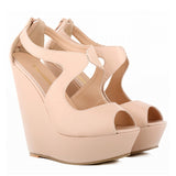NEW ELEGANT LADIES PLATFORM PEEP TOE   FAUX SUEDE PLATFORM PEEPTOE HIGH WEDGES HIGH HEEL SHOES 391-2MA
