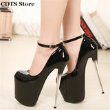 Crossdresser Plus size:34-43 Spring/Autumn 22cm thin high heels sexy Patent Leather red bottoms club pumps women's wedding shoes