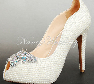 Peep Toe Bridal Wedding Dress Shoes Rhinestone Shiny High heel Shoes White Pearl lady Women Evening shoes Prom Party Shoes