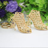 Shoe Keychain-Hot!!! High Quality Creative Gorgeous Women Bag Pendent Golden High Heeled Shoes Key chain Keyring