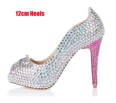 Spring Summer AB Crystal Bridal Shoes Peep Toe Sparkly Wedding Shoes 12cm High Heel Platforms Rhinestone Prom Shoes