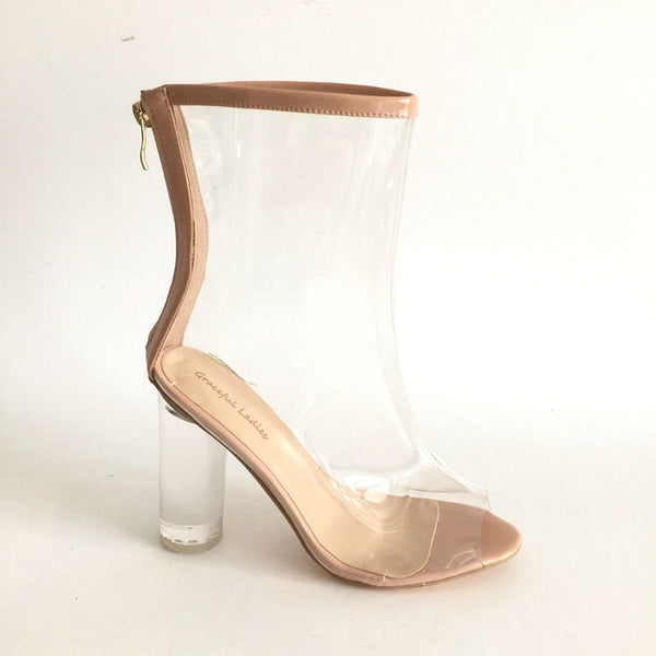 Transparent Boots Women Nude Patent Leather Ankle Boots for Women Boots Clear Round Heel Peep Toe 2017 Back Zipper Shoes
