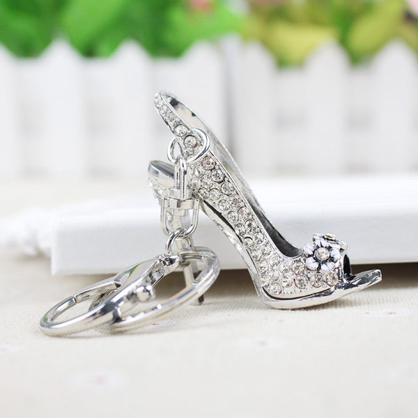 Car Keyrings Silver Plated Women Bag Charms keychains keyrings Fashion Crystal Key Holder High Heel Shoes Key Chains Rhinestone