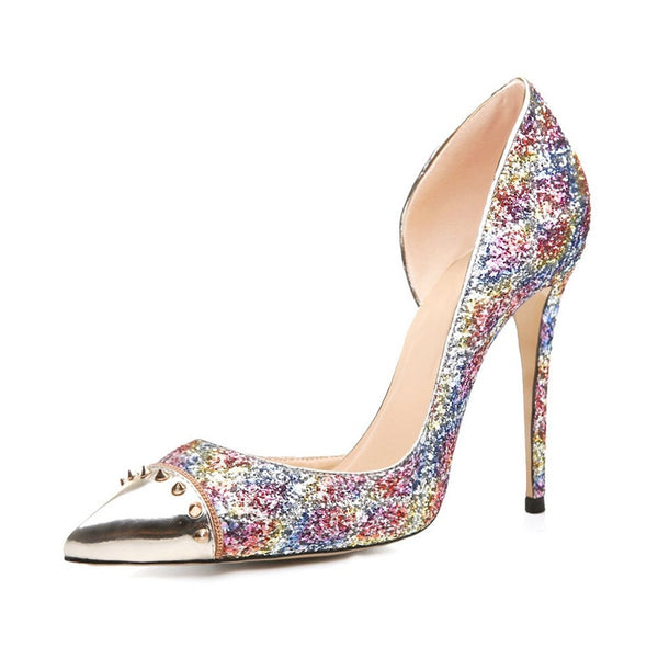 Women Pointed Toe Pumps Woman Stylish Rivets Glitter Thin Heels Multicolor Pumps High-quality Shoes Woman Size 35-46 B102