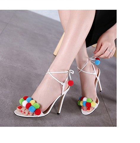 Women PomPom fuzzy ball Multi coloured sandals strappy ankle strap womens fashion wedding bridesmaid sandals pumps high heels