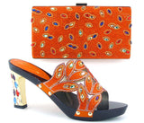 new listing Italian Shoes with Matching bags For Party very nice african shoes good quality high heels with crystal, ETH16-41