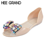 HEE GRAND 2017 Jelly Shoes Woman Summer Crystal Jelly Sandals Beach Slip On Flats Casual Bling Women Shoes Size 35-40 XWZ3468