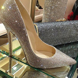 Fashion pointed toe bridal shoes rhinestone high-heeled shoes diamond thin heels wedding shoes Party Prom Shoes