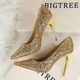 New Wedding Bling Giltter High Heels Ladies Shoes Pointed Toe Sequined Nightclub Sexy Pumps Party Prom Shoes Thin Heel Stiletto