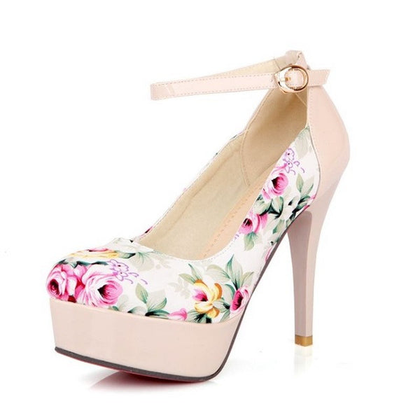 New fashion Flower Print high heels platform single shoes ultra high heels Patchwork evening Dress shoes P11801 size 32-42