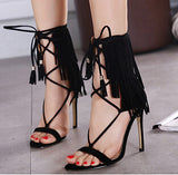 Sexy Peep Toe High Heels New Sandals Fringe Pumps Lace Up Gladiator Runway Party Shoes Women