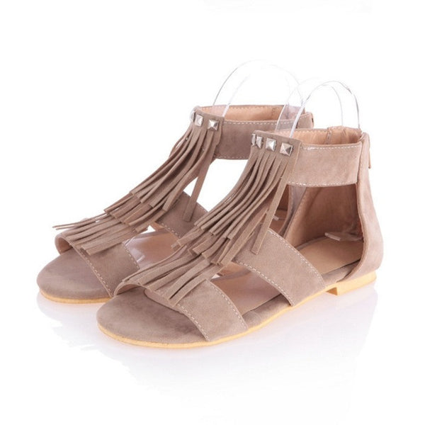 2017 Brand Big Size 34-43 Punk Rivet Tassel Women Sandals Flat Heels 2017 T-straps Open Toe Platform Shoes Summer BONJOMARISA
