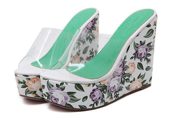 HEE GRAND Floral Print Women Slides Transparent Fashion Super High Heel Platform Slippers Bohemia Summer Shoes XWZ3769