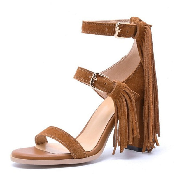 KARINLUNA 2017 Hot Sale Fashion Tassels Rome Style Women Sandals Square High Heels Cow Suede Woman Shoes Party