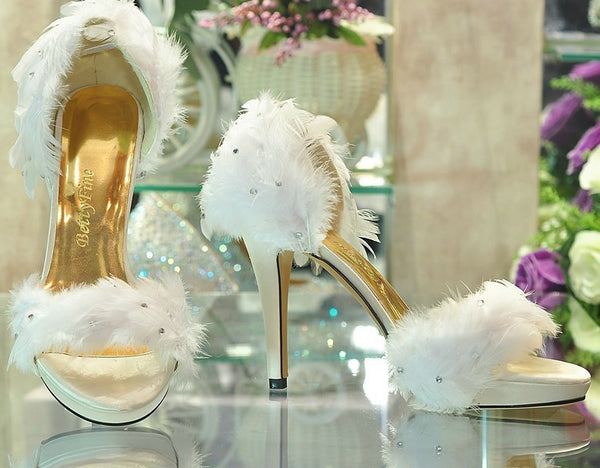 2016 Popular Fashion Lady's White Satin Feather Wedding Bridesmaid Party Prom Dress Heels Shoes evening party dress shoes