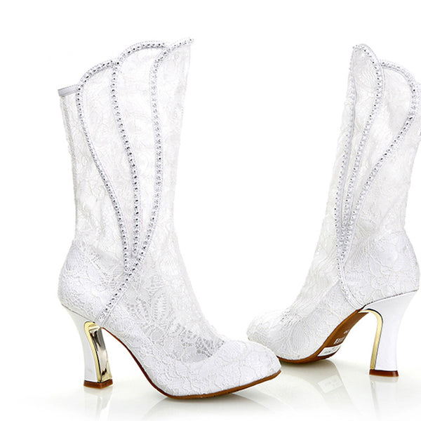 2016 fashion Sexy Woman Spring Autumn High Heel Formal Boots White lace Wedding Boots Bridal Dress Shoes Party Prom High Heels