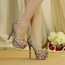 2017 Small Rhinestone Mix Color High Heel Party Shoes Wedding Ceremony Bridal Shoes Adult Ceremony Shoes Cinderella Prom Pumps