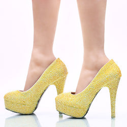 2017 New Arrived Yellow AB Color Rhinestone Wedding Party Shoes Handmade Bridal Dress Shoes Birthday Party High Heels Prom Pumps