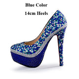Royal Blue Rhinestone Wedding Shoes Handmade Gorgeous Party Prom Pumps Cinderella Prom High Heels Bridal Dress Shoes Plus Size
