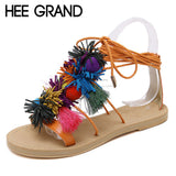HEE GRAND Vintage Gladiator Sandals Ball Tassel Shoes Woman 2017 Platform Flats Casual Bohemia Lace-Up Women Shoes XWZ3692