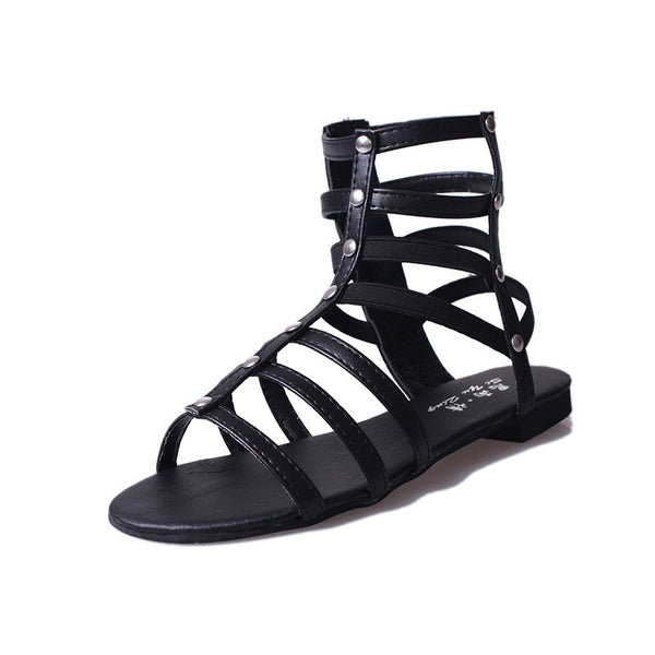 2017 rivet barrel cool boots peep-toe cross strap sandals women summer shoe tide flat flat with Rome shoes for women's gladitor