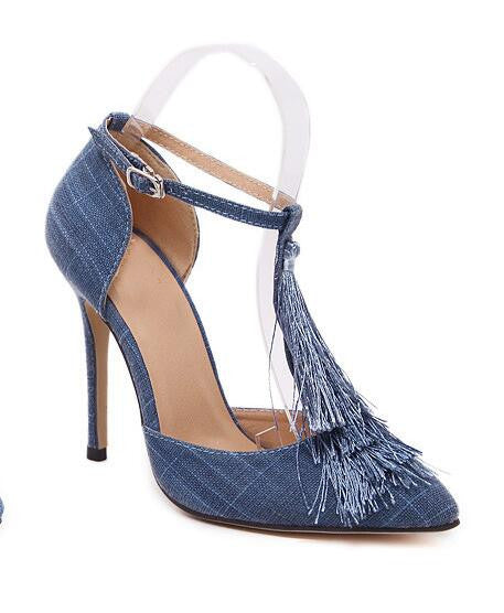 gladiator roman new designer women tassel fringe canvas denim T strap ankle strap mary jane cut out sandals pumps high heels