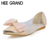 HEE GRAND New Spring Summer Sweet Women Flats,Pointed Sequined Toe Big Bowtie Shoes for Women,Casual Shoes Free Shipping XWD670