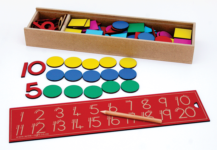 Wooden Numbers and counters 1 - 20 in a Box