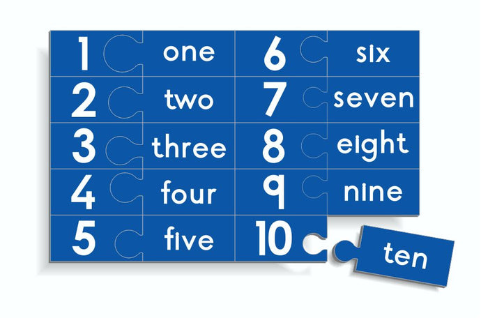 Wooden Counting Puzzle - Numbers 1 to 10 with words