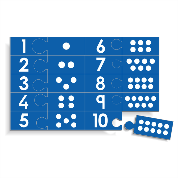 Wooden Counting Puzzle - Numbers 1 to 10 with dots