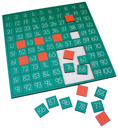 Numbers on counters - 1 to 100 on a board