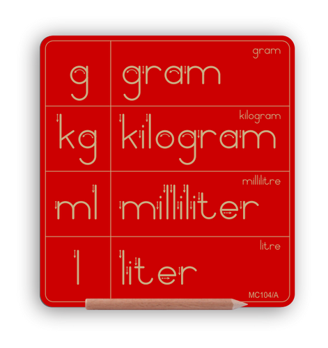 NEW PRODUCT - Metric System Symbols g kg ml l  & words - Std Print