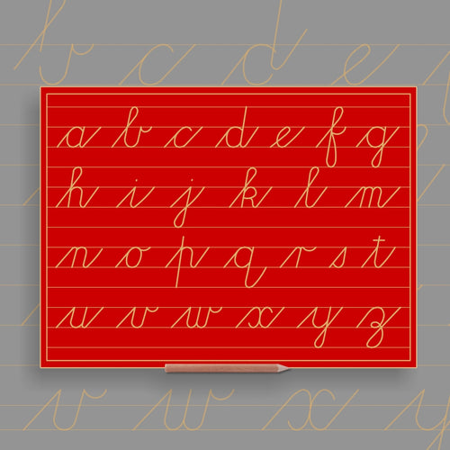 BIG Alphabet Lower case in lines - Cursive