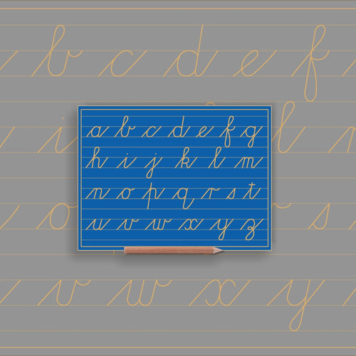 Alphabet Lower case in lines - Cursive