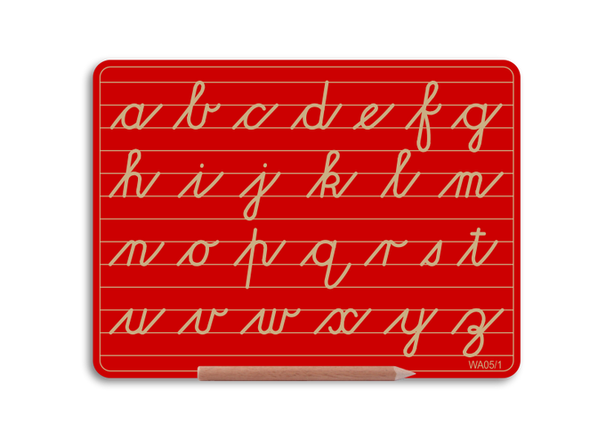 Wooden Alphabet Board - Lowercase letters in Cursive