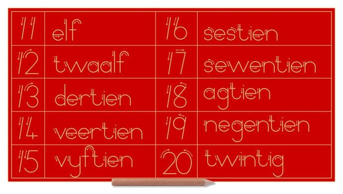 Number & Word Combo 11 to 20 - Afrikaans - Standard Print