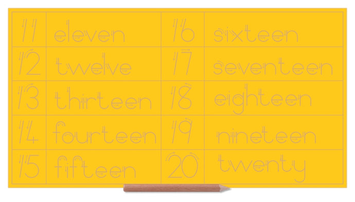 Number & Word Combo 11 to 20 - English - Standard Print