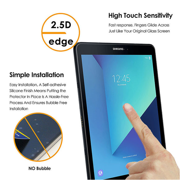 "Samsung Galaxy Tab S3 9.7"" and Fits Tab S2 Flat Clear Tempered glass screen protector"