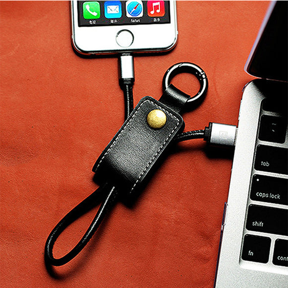 YP Micro USB Charging & Data Cable Genuine Leather Travel Keyring