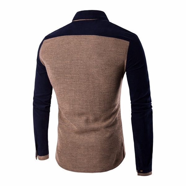 Knitted men's shirt long sleeve 4 colors