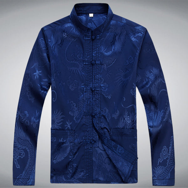 Men Shirt Chinese Style Long Sleeve 5 colors