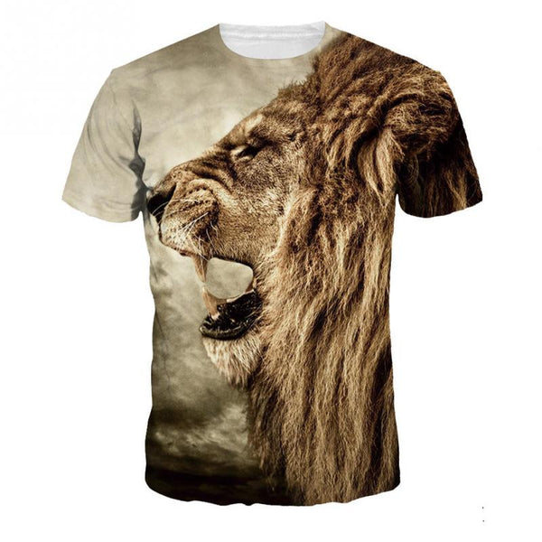 3d T-Shirt Men Short Sleeve Lion