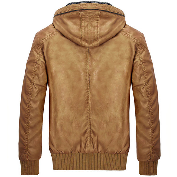 Casual Men Leather Jacket Hooded 3 colors Autumn/Winter/Spring