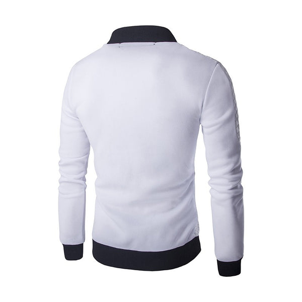 Mens Jacket Cardigan Sweatshirt Black white Gray