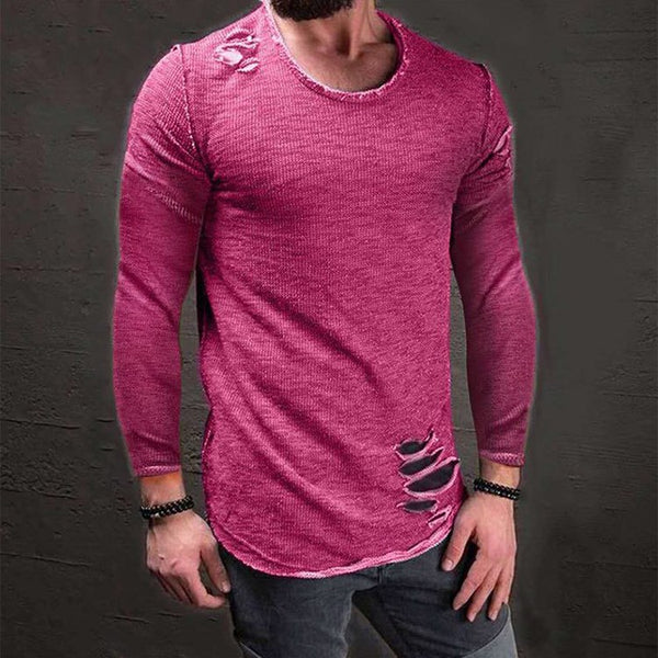 Men's Ripped Long Sleeve T-shirt 5 colors