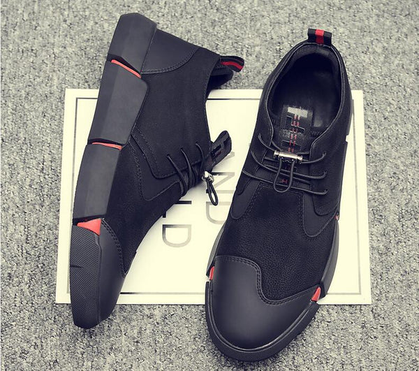 Black Men's Leather Sneakers